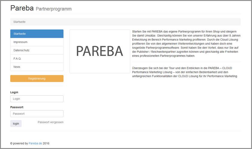 Startseite Partnerprogramm von PAREBA aus Publishersicht (hier mit Demodaten gefüllt)