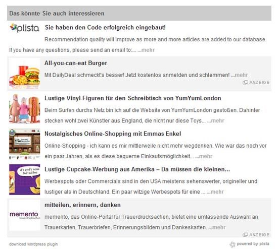 Plista Recommendation Ads