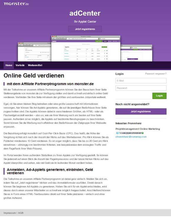Startseite Affiliate-Programm von monster.de