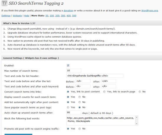 Plugin-Vorstellung: WordPress-Plugin SEO SearchTerms Tagging 2 - Erhöhung der internen Verlinkung im Blog und Anzeige der wichtigsten Google-Suchbegriffe