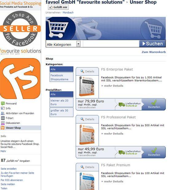 F-Commerce mit Favourite Solutions: Ein Online-Shop für Ihre Fanseite auf Facebook