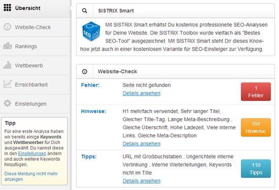 Sistrix Smart Websitecheck