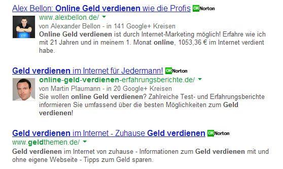 Suchergebnisse mit Google-Authorship