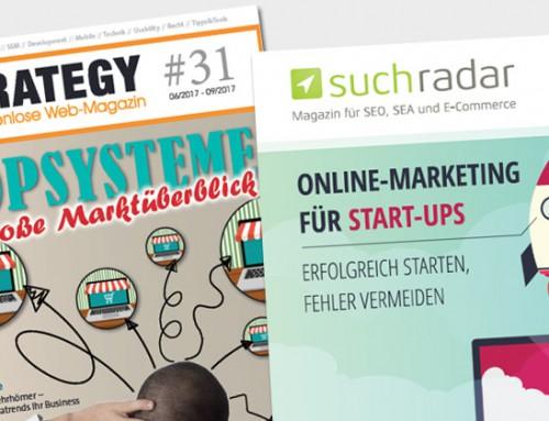 Neue Ausgaben von eStrategy und suchradar