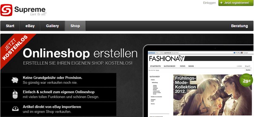 Supreme – Einfaches Mietshop-System für den E-Commerce-Einstieg
