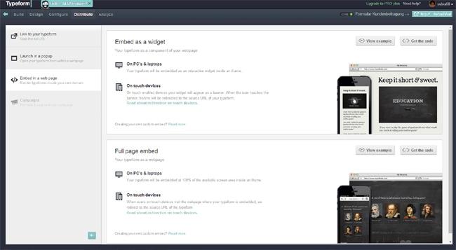 Typeform - Formular in Website einbinden