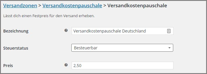 Neue Versandeinstellungen in WooCommerce ab Version 2.6