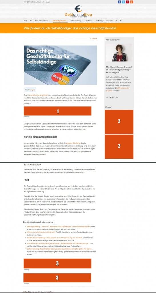 Werbung auf Geld-online-Blog schalten