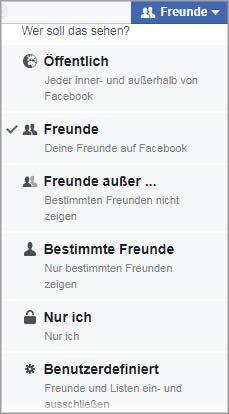 Privatsphäre Einstellungsmöglichkeiten bei Facebook