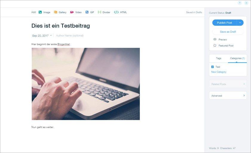 Wix: Blogartikel schreiben