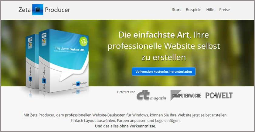 Firmenwebsites mit dem Desktop-CMS von Zeta Producer erstellen